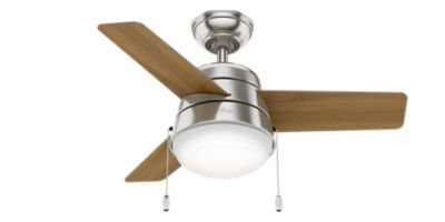 The Scandinavian style lighting complemented by a mid-century color palette along with the rounded edges throughout the Aker gives it a soft modern look. With a 36-inch blade span, this petite fan is perfect for small spaces like home offices, hallways and even bathrooms. But don't let its size fool you: This modern ceiling fan packs a punch when it comes to airflow and keeping you cool. Includes integrated light kit with Cased White glass WhisperWind® motor delivers ultra-pow...