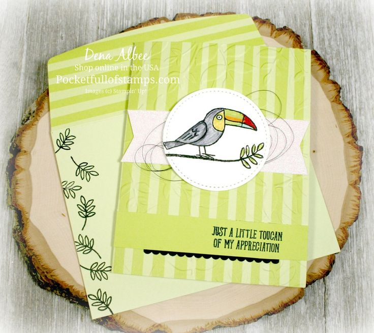 Stampin' Up! Bird Banter - My Simple Sunday project today starts with some gorgeous preprinted cards and envelopes you can earn FREE during Sale-a-Bration.  Add the adorable Bird Banter stamp set to it and it makes for some quick and easy magic!