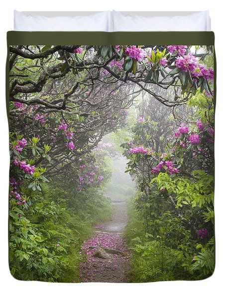 Rhododendron Time In North Carolina Duvet Cover by Bill Swindaman