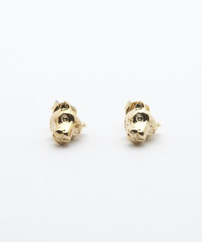 Gold Lioness Stud Earrings. $ 20.00
