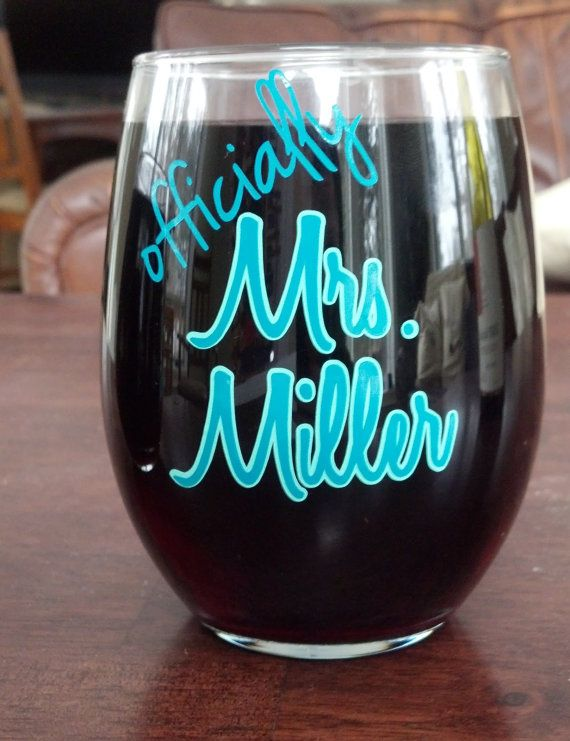 Officially Mrs. wine glass.  Bridal shower by WaterfallDesigns, $12.00