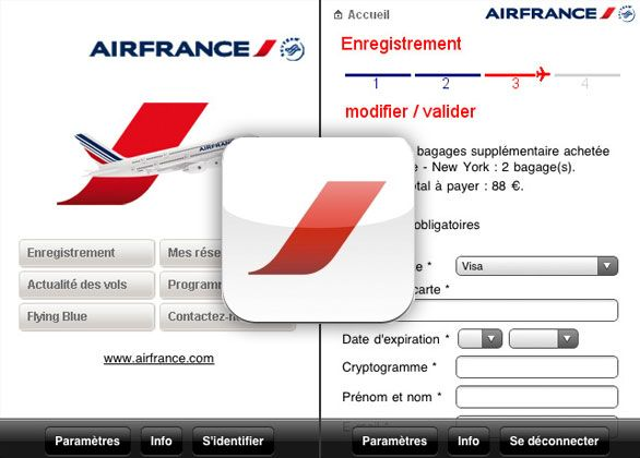 Air France Mobile for iPhone, Ipod touch, iPad: Organize your trip through your phone, purchase your ticket, manage your booking, check in and keep informed in real time l #freeapp #boardingpass