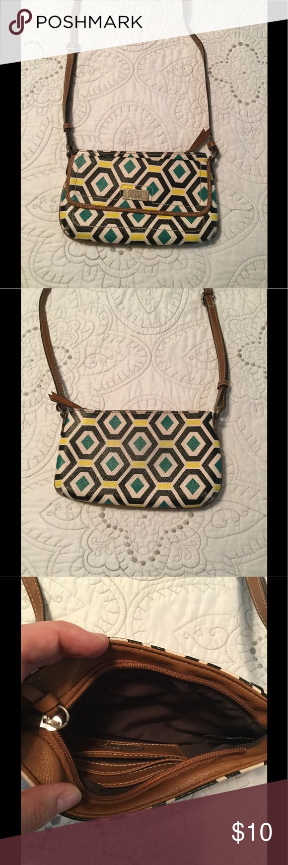 9&CO Small Purse Really cute geometric pattern with green and yellow accents. Shoulder or cross body bag with one pocket on the exterior. Has several spaces of credit cards on the interior. Inside is very clean with NO pen marks or scratches, rips, tears, etc. minimal wear on the corner as pictured. Make me an offer!XOXO jcpenney Bags Mini Bags
