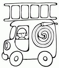 Пожарная машина - скачать и распечатать раскраску. Раскраска Пожарный, пожарник, пожар, лестница, лестница, рукав, шланг, детский сайт с разукрашками