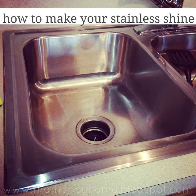 Shine up your stainless steel sink with a couple of simple, but surprising, ingredients. Via Happy Home: How to Make your Stainless Shine