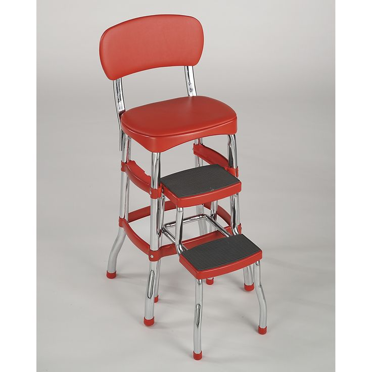 Cosco Home And Office Products 11120RED1E Retro Counter Chair / Step Stool