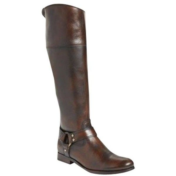 Pre-Owned Frye Melissa Harness Zip Riding Tall Boots Dark Brown... ($215) ❤ liked on Polyvore featuring shoes, boots, brown, side zip boots, knee high cowgirl boots, cowboy boots, dark brown boots and knee high cowboy boots