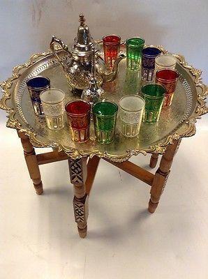Vintage Traditional Moroccan Tea Folding Table & Silver Teapot 6 Glasses Set