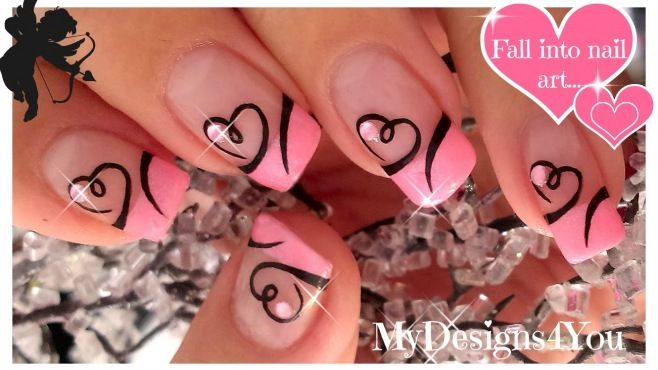 Sevgililer Gününe Pembe Kalp Desenli Fransız Manikürü Yapımı - Bu romantik gün Sevgililer Günü için yapabileceğiniz pembe kalp desenli fransız manikürü tekniği (Easy Valentine's Day Nail Art Heart French Nails Video)