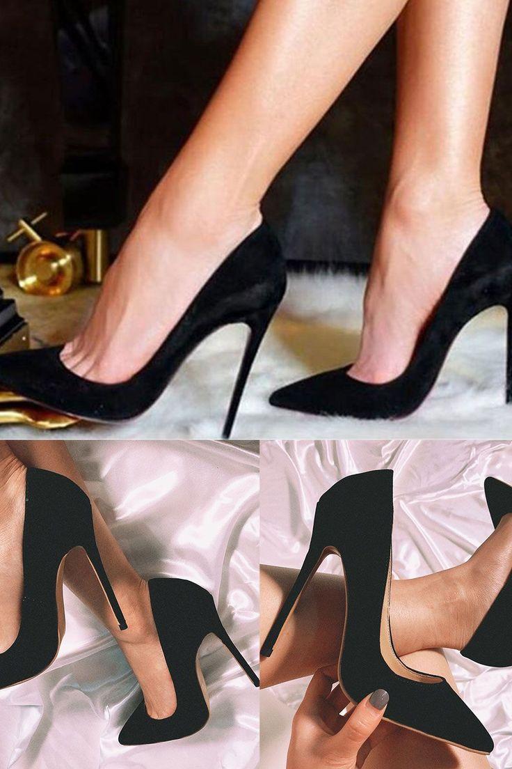 Schwarzes klassisches Wildleder Sexy Stiletto Heels