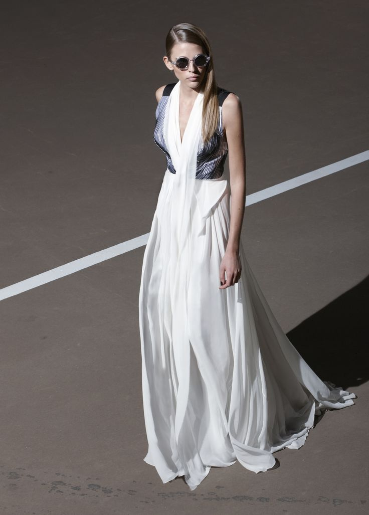 Floor length evening gown with V-neckline