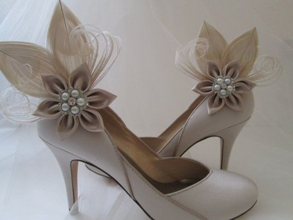 Champagne Bridal Shoe Clips Ivory Wedding by GibsonGirlGarters