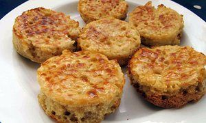 Crumpets are light and fluffy. Best spread with butter.