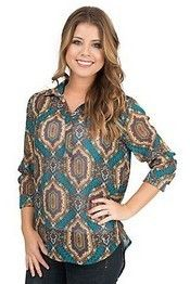 Wrangler® Ladies' Long Sleeve Teal & Cranberry Print Blouse
