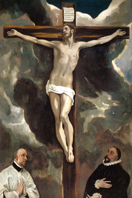 El Greco - Christ on the Cross Adored by Tow Donars, 1580 at the Louvre Museum Paris France