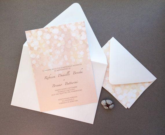 Wedding Invitation   Rose Gold Wedding Invitation, Gold And Blush Bokeh Wedding  Invitation, Sparkle Wedding Invitation