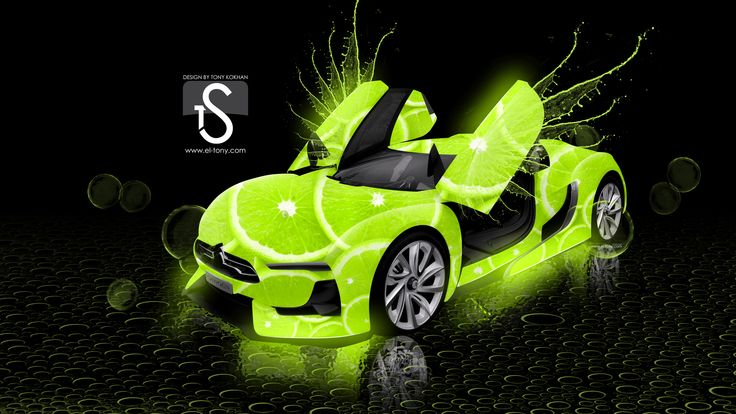 Citroen-Lime-Photoshop-Green-Neon-Car-CAR ART