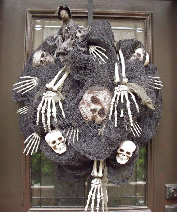 Scary Halloween Wreath Skull and Bones Halloween by LuxeWreaths
