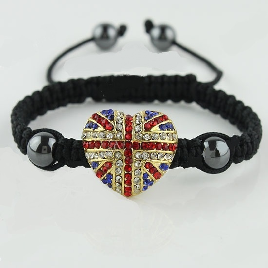 Pulsera tipo sambala corazón de strass bandera UK.