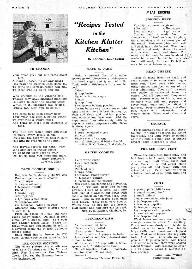 Kitchen Klatter Magazine, February 1942 - Date Pocket Books, Maud S. Cake, Danish Cookies, Luncheon Dish, Corned Beef, Head Cheese, Sausage, Pickled Pigs Feet, Chili