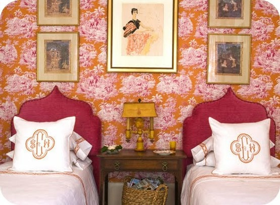 Mellissa Rufty - orange pink and fuchsia, plus chinoiserie!: Guest Bedrooms, Headboards, Colors, Monograms Pillows, Twin Beds, Pink, Guest Rooms, Girls Rooms, Guestrooms