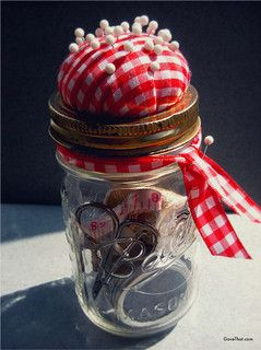 sewing kit in a mason jar gift