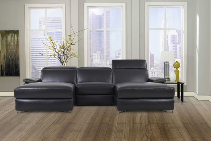 The Aura Black Top Grain Leather Small U-Shaped Sectional Sofa by Levoluxe. This designer sectional includes two spacious and plush chaise seats, and offers a modular design for custom configuration. Each piece is constructed with premium high-end materials for an ultimately luxurious look and feel.  Adjust each headrest and footrest support and relax in an ambiance of refined modern elegance.