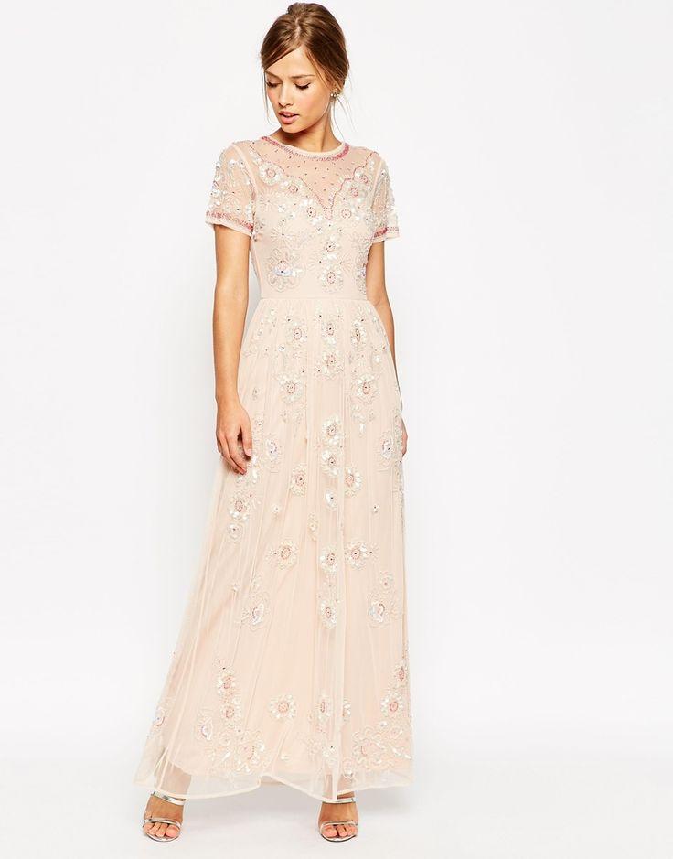 ASOS SALON Beaded Floral Mesh Maxi Dress