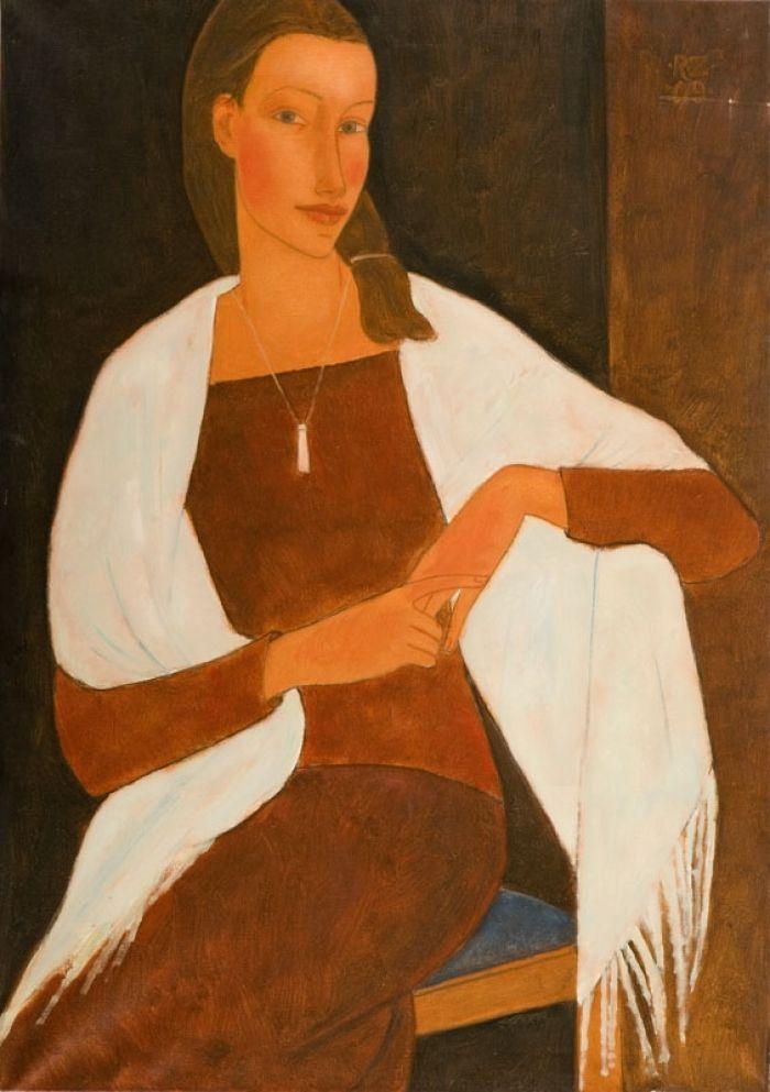 Roman  Zakrzewski - Kobieta z białym szalem na ramionach, 2009 r.