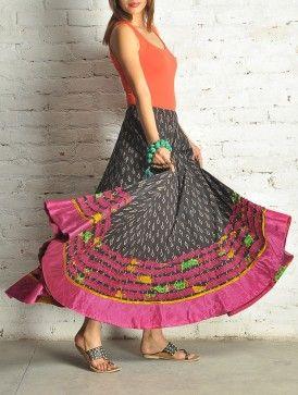 Black Block Print Kalidar Cotton Skirt - Free Size