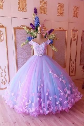 Princess Pink and Blue Ball Gown Cheap Prom Dresse…