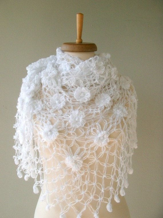 White Bridal shawl, Mohair shawl , White shawl with DHL Express    This lovely flower shawl can be used day and night. It is so cute and soft.