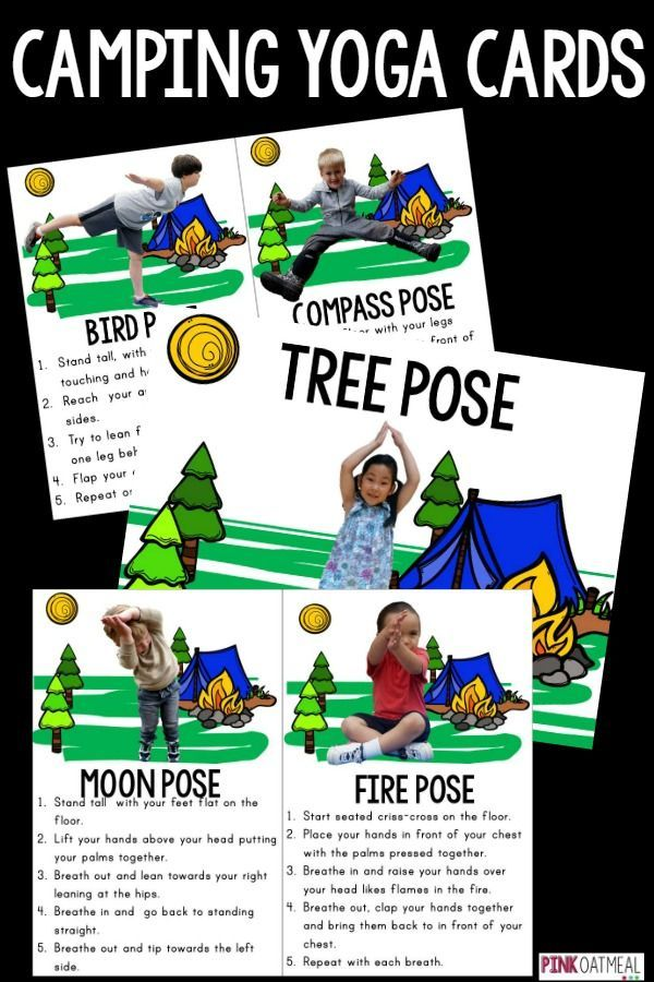 Camping Yoga is perfect for kids yoga!  I love how all the yoga poses are related to camping and they are so cute!  Perfect for a camping unit, camping lover or brain break!