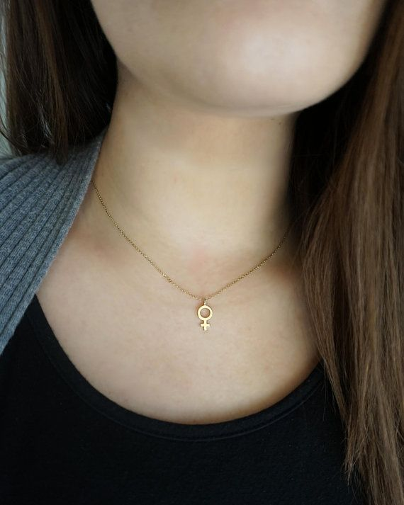 14k Female Symbol Necklace Feminist Necklace Solid Gold Etsy In 2021 Feminist Necklace Dainty Rose Gold Necklace Symbol Necklace