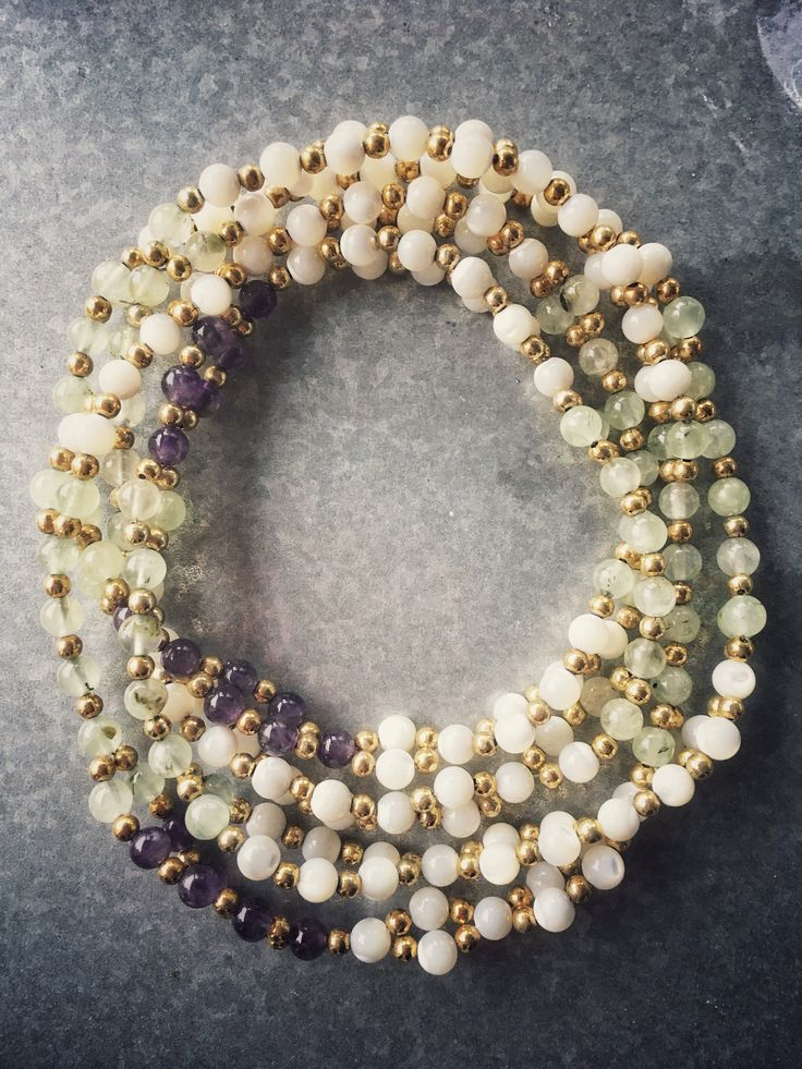 Mother of Pearl,  Amethyst and phrenite  Tantric Mala NEW