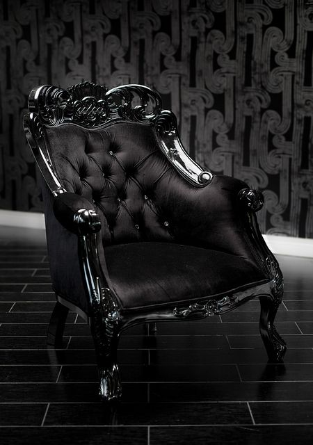Black Velvet Baroque Tufted Chair with Swarovski Crystals
