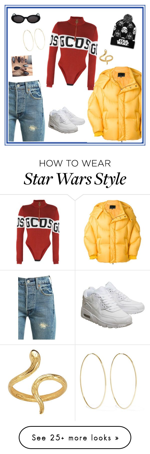 """""""Untitled #122"""" by laurapaganiposta on Polyvore featuring Levi's, NIKE, Chen Peng, GCDS, Loungefly, Madina Visconti di Modrone and Magda Butrym"""