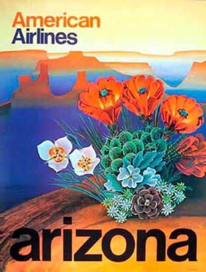 American Airlines, Arizona Travel Poster, 1970.