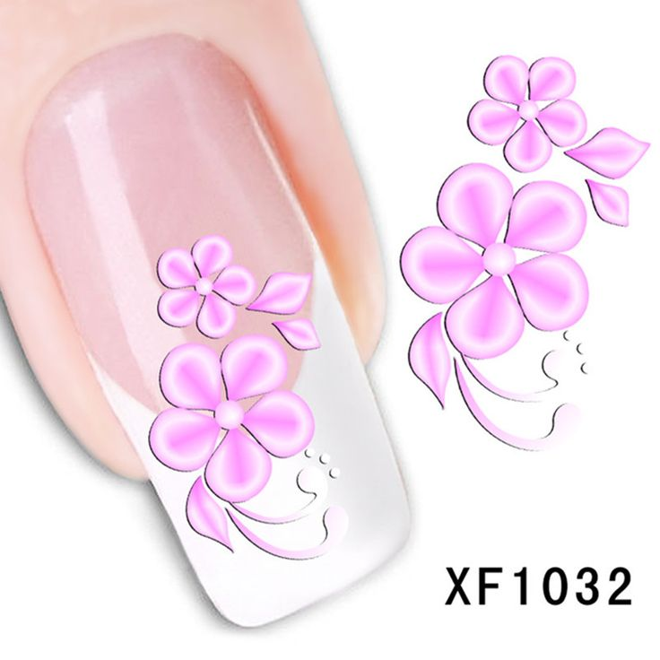 1pcs Fashion Watermark Pink Flower Nail Art Decals Decorations DIY Nail Stickers Wraps Acrylic Manicure Styling Tools XF1032