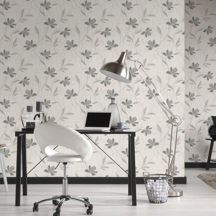AS Creation Lotus Floral Grey Glitter Wallpaper - Luxury Textures - http://godecorating.co.uk/as-creation-lotus-floral-grey-glitter-wallpaper/
