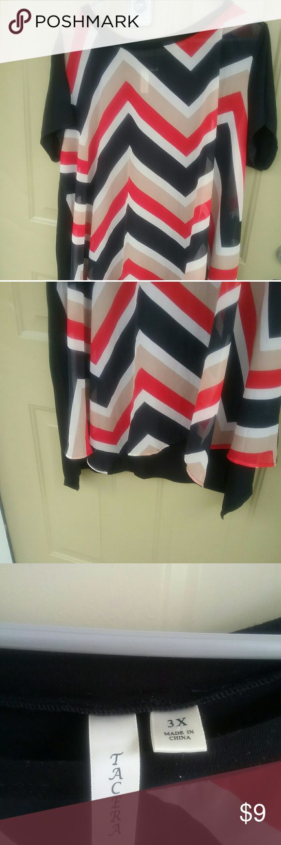Hi low Chevron top plus zize Red black and beige   slightly  hi low     great with jeans  says 3x but fits more like 2x Tops Blouses