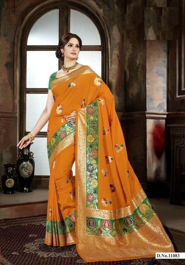 Indian Traditional Saree Silk Cotton Ethnic Sari Bollywood Designer Blouse SS