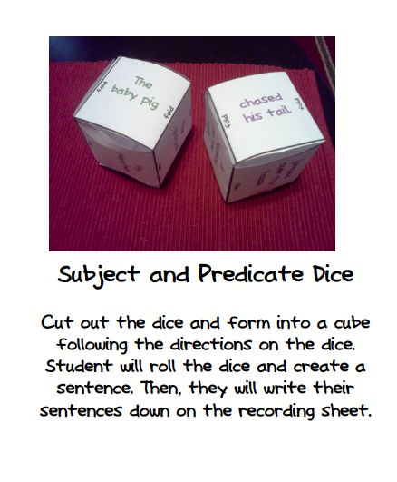 Swimming Into Second:Subject and Predicate Dice