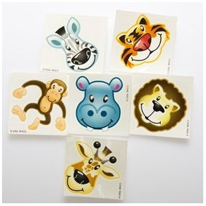 Zoo animal tattoos- party favors