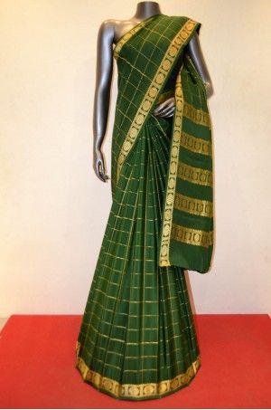 Bottle Green Zari Checks Pure Mysore Crepe Silk Saree Product Code: AC205076