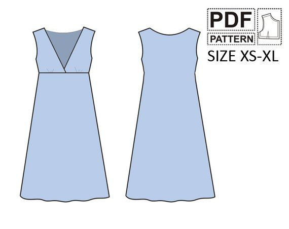 Womens dress pdf sewing pattern Size: XS, S, M, L, XL Included: A4