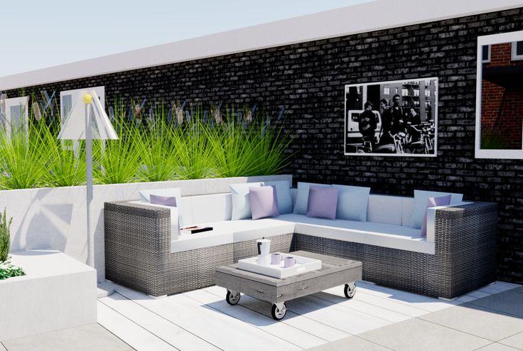 Tuinontwerp Volendam 39.  Rijtjeshuis tuin met een luxe design uitstraling. Zowel modern als romantisch door het gebruik van luxe materialen en strakke lijnen. Garden ideas, garden inspiration.