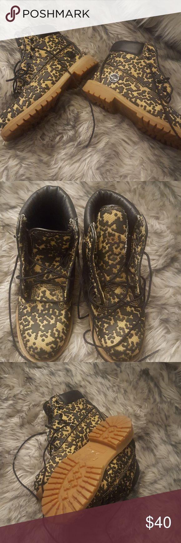 Unique Timberlands Boots - Mens SZ 5, Women SZ 8 In great condition. Very unique pair of Timberland boots. Men's size 5. Women's size 8. Genuine Leather. Timberland Shoes Lace Up Boots