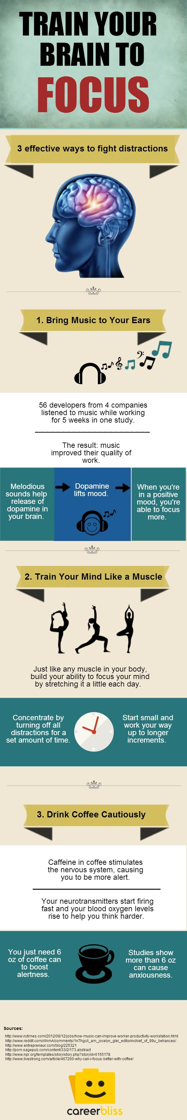 3 Ways to Train Your Brain to Focus [INFOGRAPHIC] #alzheimers #tgen #mindcrowd www.mindcrowd.org