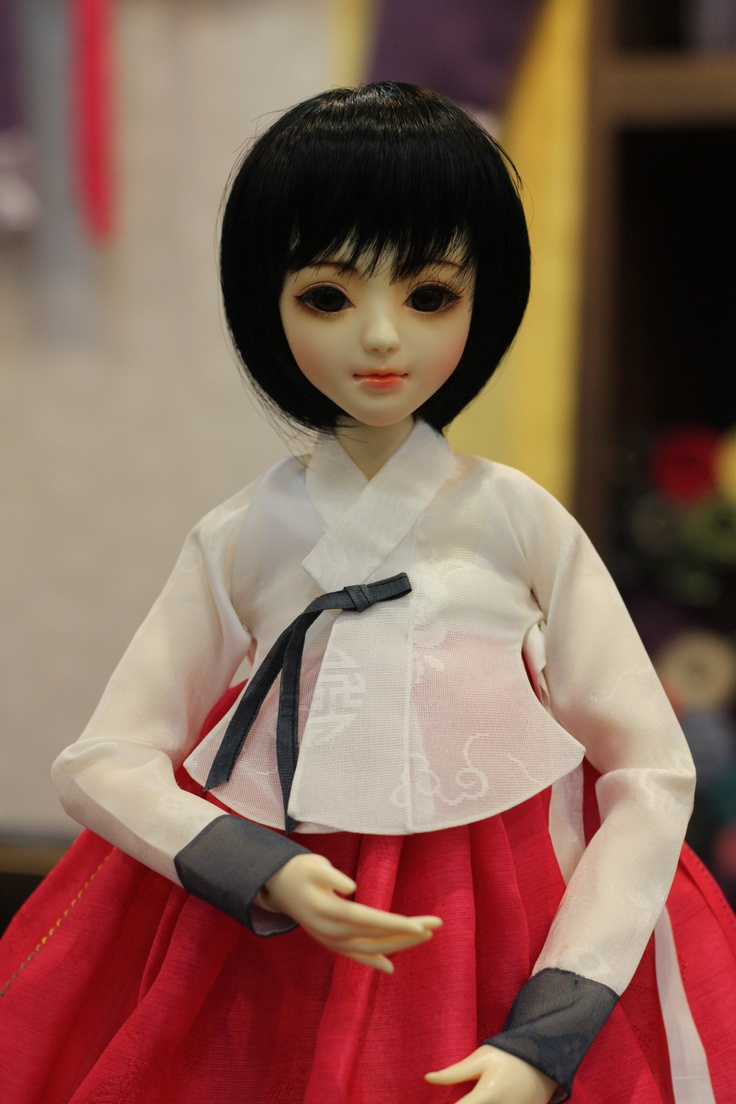 Ball jointed doll wearing a korean traditional dress